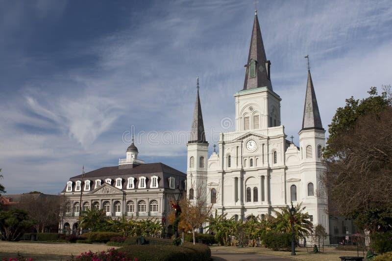 Tormenta sobre la catedral de St. Louis imagen de archivo