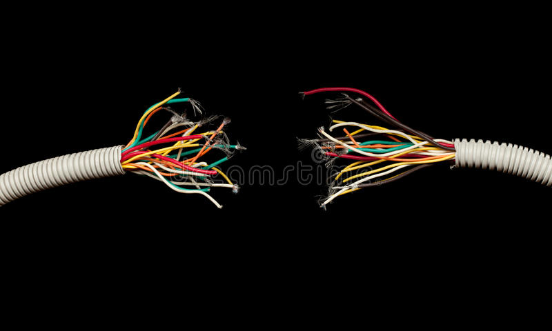Download Torn Apart Wires Isolated On Black Stock Image - Image of disconnected, still: 19252515
