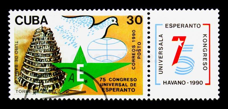 Torn av Babel, 75th universella esperantoCongresso serie, circa royaltyfri bild