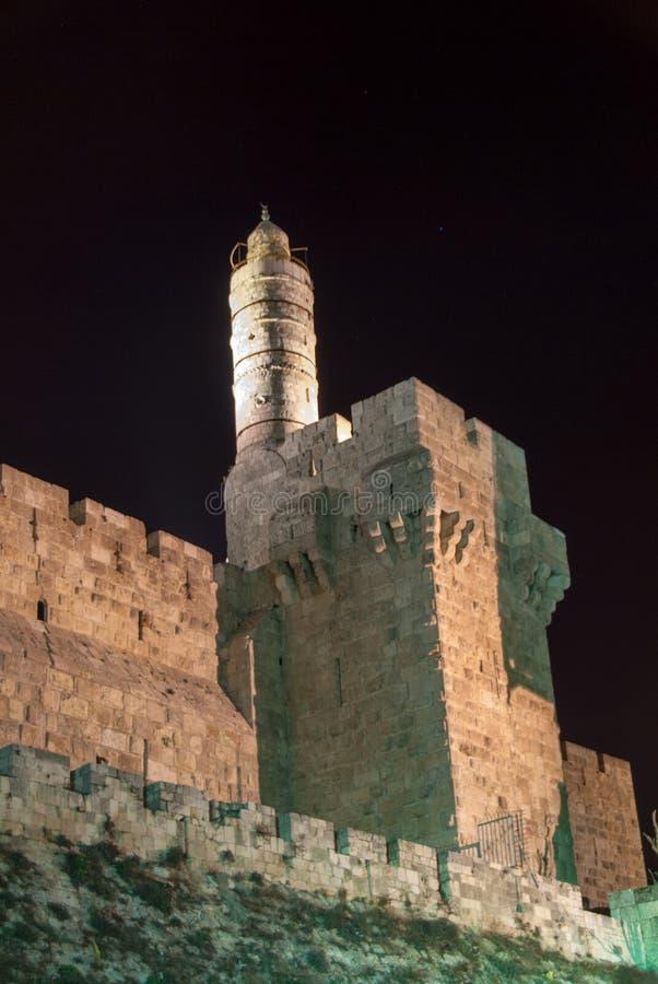 Torn av David, Jerusalem på natten arkivfoton