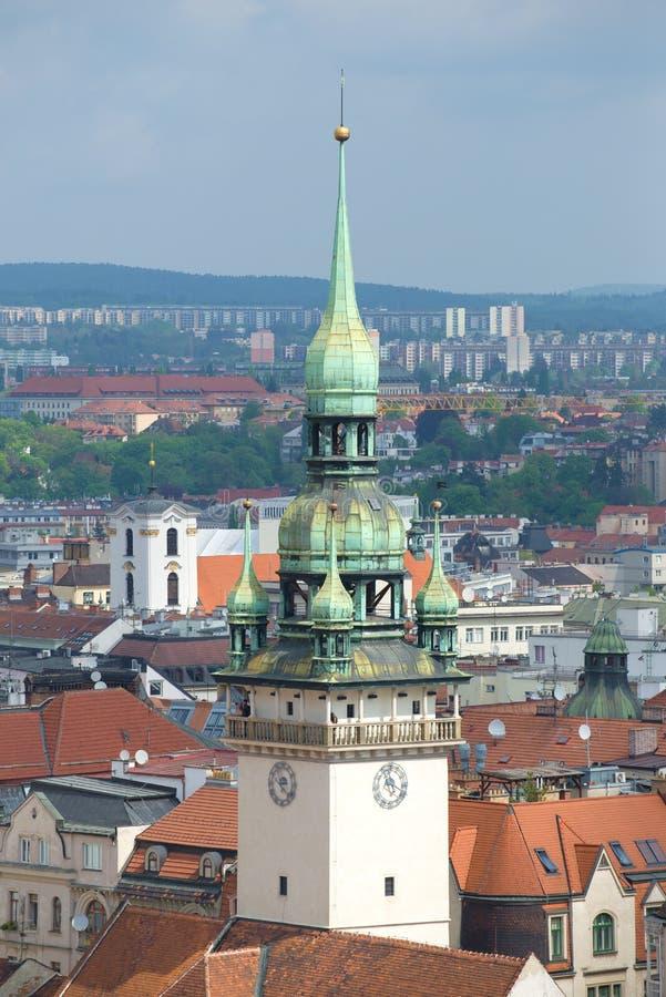 Torn av den gamla stadshuscloseupen brittneyen för republiktown för cesky tjeckisk krumlov medeltida gammal sikt royaltyfria foton