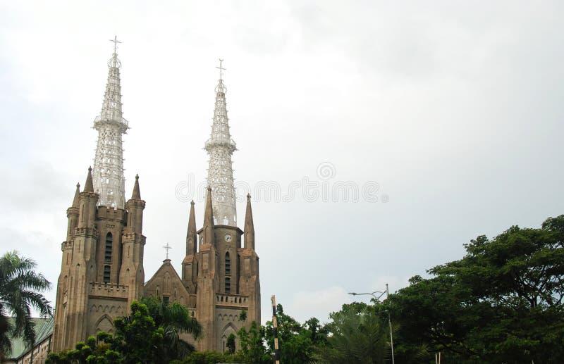 Torn av den Gereja domkyrkan, Jakarta arkivfoton