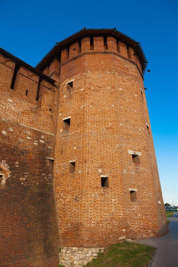 Torn av den Kolomna Kremlin väggen arkivfoton