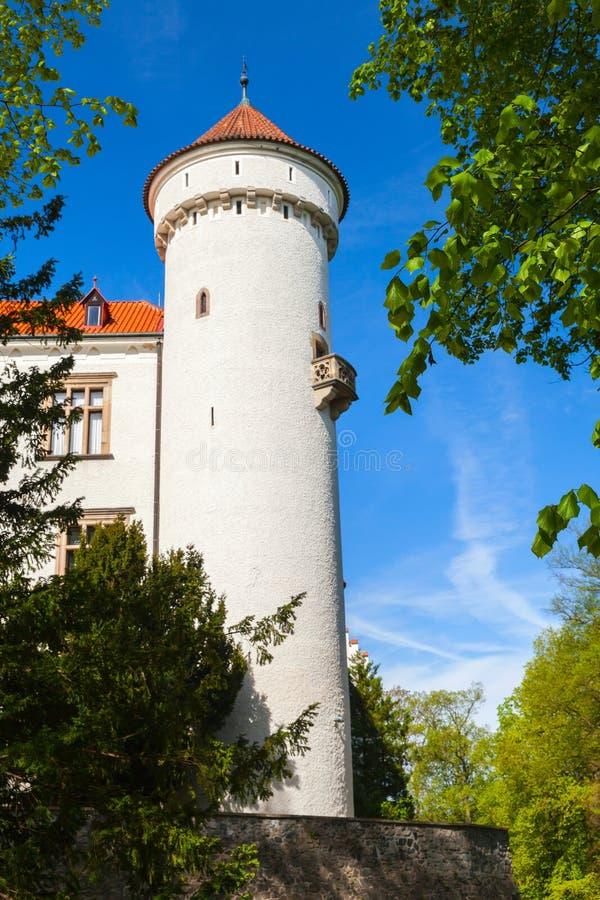 Torn av den Konopiste slotten, Tjeckien arkivfoto
