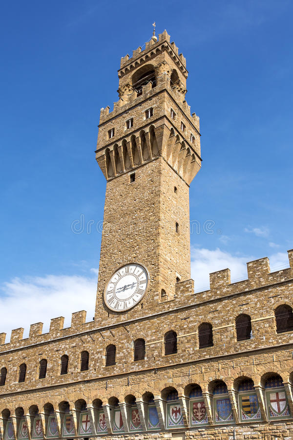 Torn av den Palazzo dellaen Signoria, Florence arkivfoton