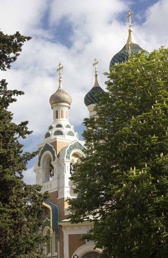 Torn av den StNicholas ortodoxdomkyrkan i Nice, Frankrike arkivfoto