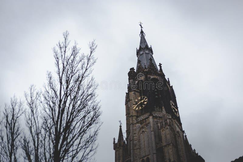 Torn av Nieuwen Kerk, ny kyrka, i det gamla centret av delftfajans royaltyfri fotografi