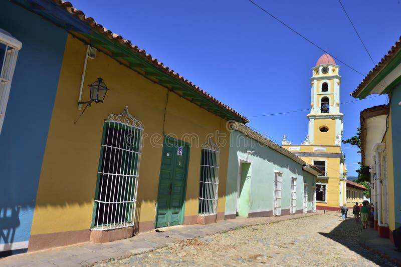 Torn av St Francis av den Assisi kloster och kyrkan cuba trinidad arkivfoto