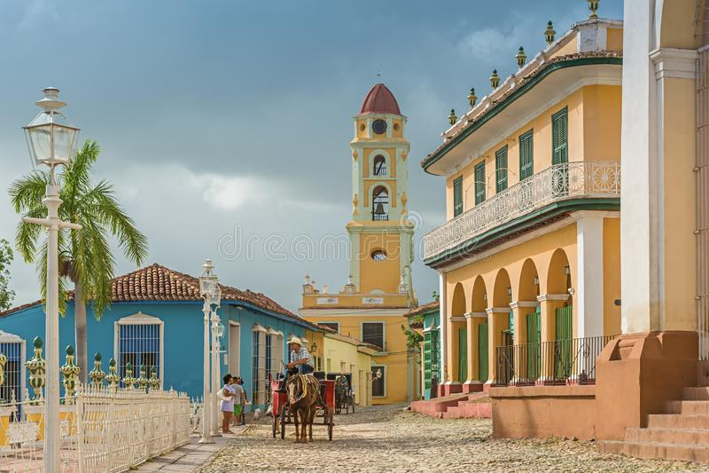 Torn av St Francis av den Assisi kloster och kyrkan, Trinidad, Kuba arkivfoton