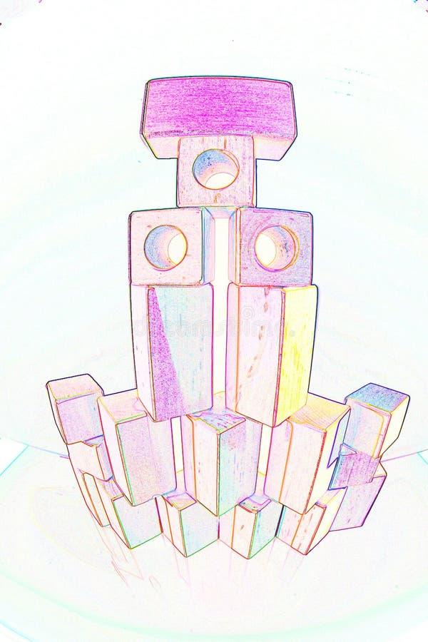 Torn av träleksaktegelstenar arkivbild