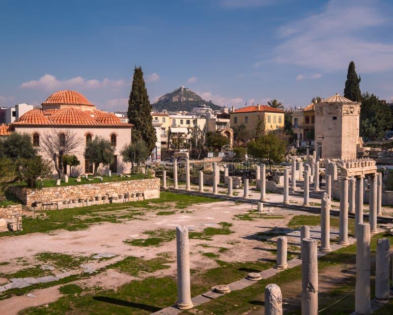 Torn av vindarna och Roman Agora i Aten, Grekland fotografering för bildbyråer