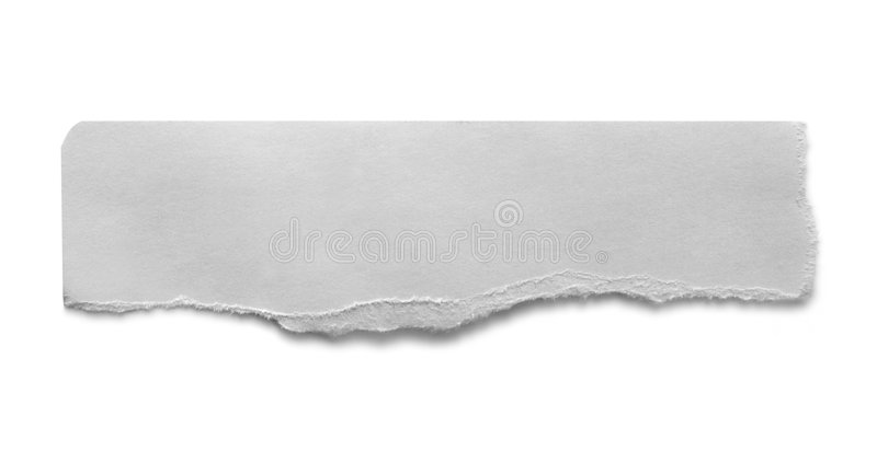 Torn Banner. Torn cardboard banner, in monochrome, casting shadow on white