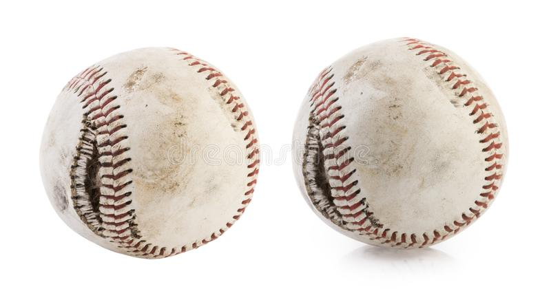 Torn baseball ball isolated on white background royalty free stock photo