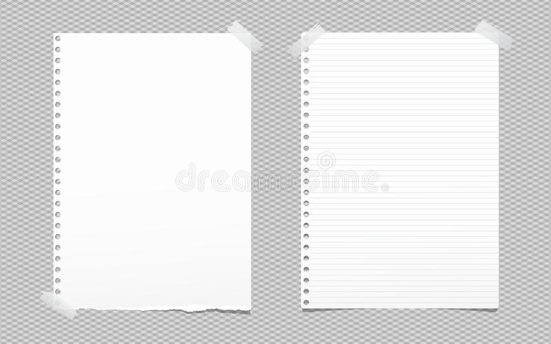Torn blank and lined white note, notebook paper sheet for text stuck with gray sticky tape on squared background. vector illustration