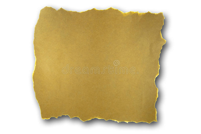 Torn brown paper. With shadow isolated on white stock photography
