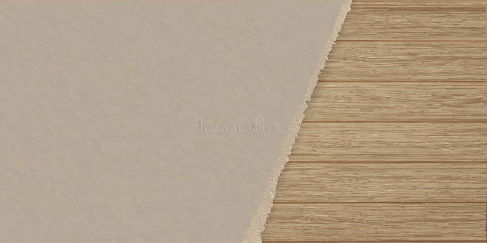 Torn brown texturing paper over a wooden plank wall. stock illustration