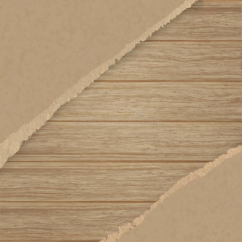 Torn brown texturing paper over a wooden plank wall. vector illustration