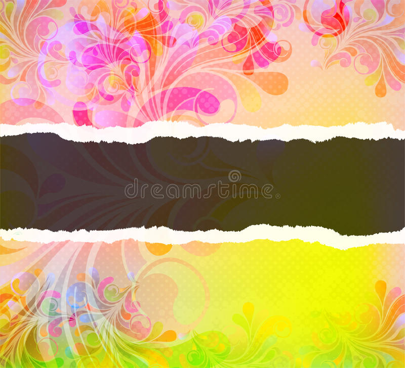Download Torn Cardboard With Colorful Swirls Stock Illustration - Illustration of background, decor: 25268159