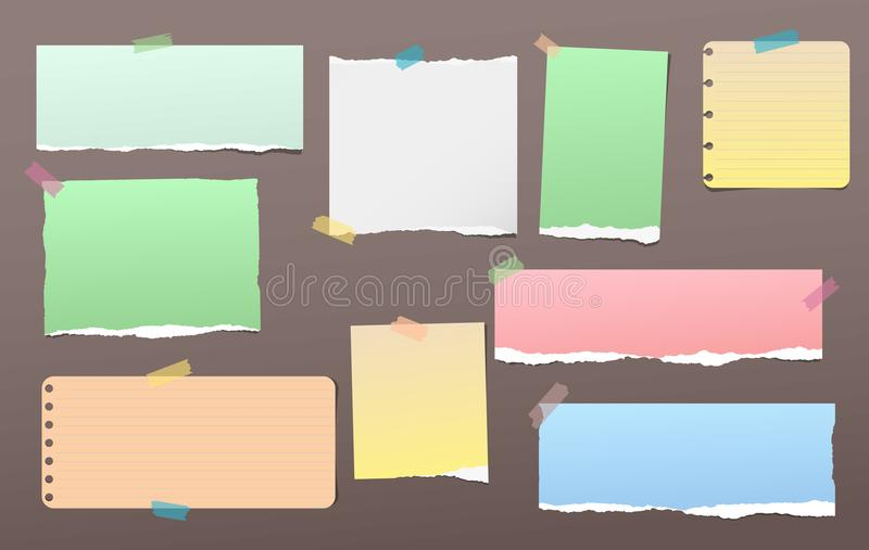 Torn colorful note, notebook paper pieces for text stuck with sticky tape on dark brown background. Vector illustration. stock illustration