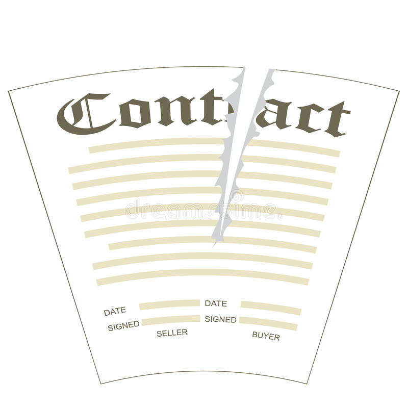 Torn contract. Illustration of torn the paper contract form stock illustration