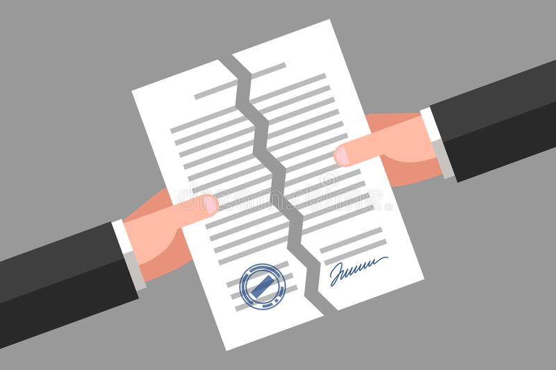Torn document. Cancellation of contract or agreement stock illustration