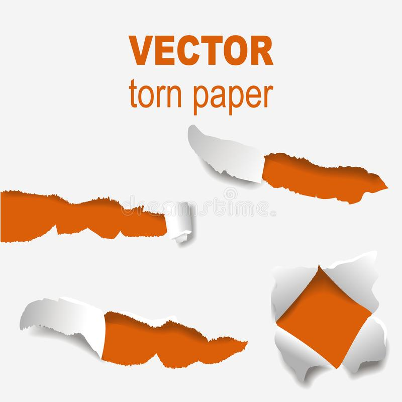 Torn edges paper hole lacerated ragged edge and crack realistic 3d style vector illustration concept grunge page. Torn edges paper hole lacerated ragged paper stock illustration