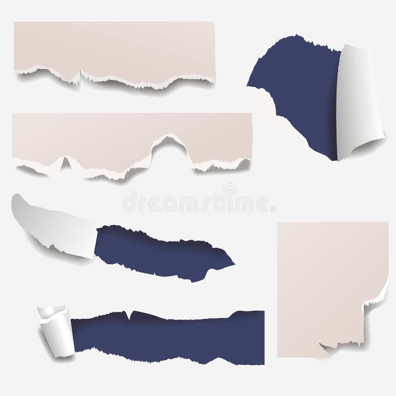 Torn edges paper hole lacerated ragged edge and crack realistic 3d style vector illustration concept grunge page. Torn edges paper hole lacerated ragged paper vector illustration