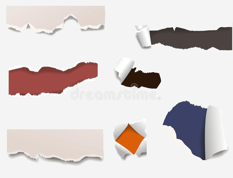 Torn edges paper hole lacerated ragged edge and crack realistic 3d style vector illustration concept grunge page. Torn edges paper hole lacerated ragged paper royalty free illustration