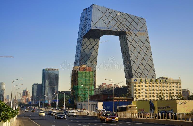 torn för beijing cctv-porslin royaltyfria bilder