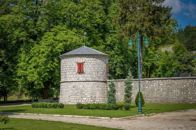 Torn för Cetinje klosterfästning arkivfoto