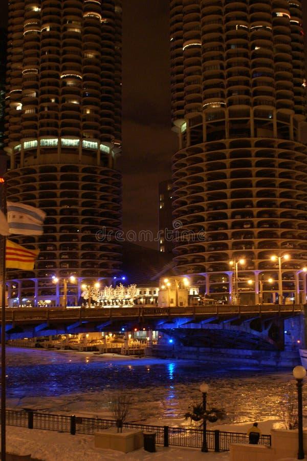 torn för chicago marinanatt royaltyfria foton