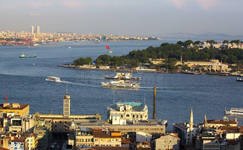 torn för galataistanbul panorama arkivbild
