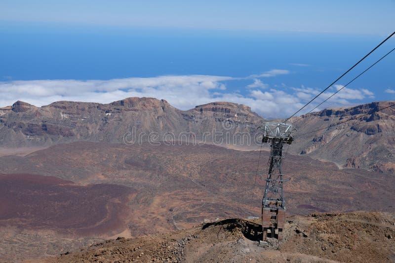 Torn för kabelbil från överkanten av berget arkivfoton