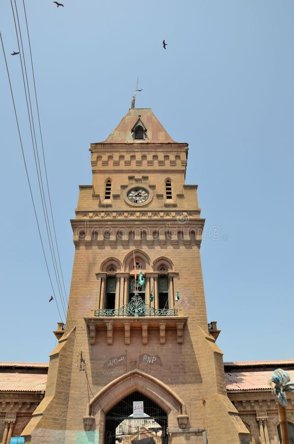 Torn för kejsarinnamarknadsklocka i Saddar Karachi Pakistan arkivfoto