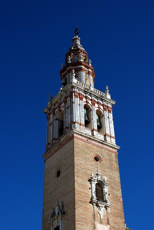Torn för klocka för Santiago församlingkyrka, Ecija, Spanien. arkivfoto