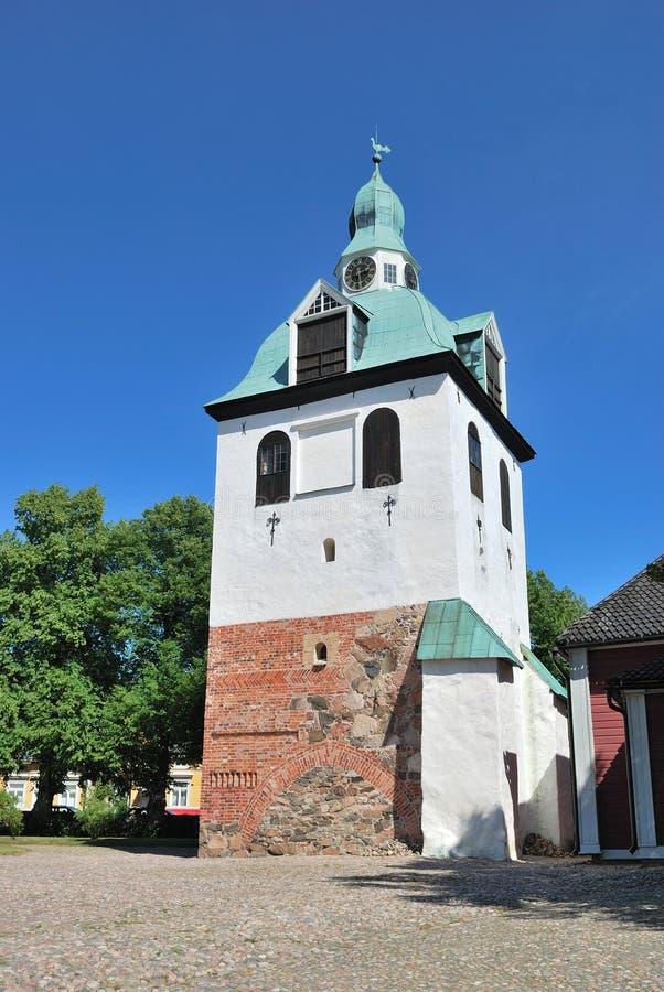 torn för klockafinland medeltida porvoo royaltyfria foton