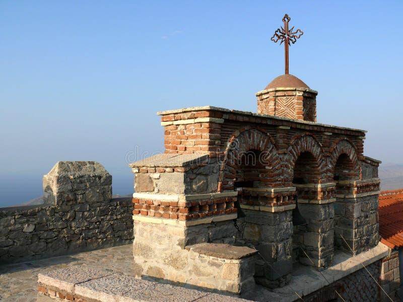 torn för kloster för klockagreece lesvos ortodoxt fotografering för bildbyråer