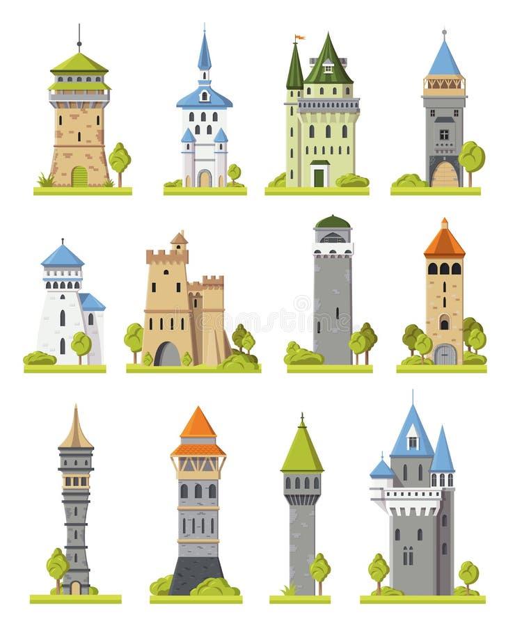 Torn för saga för tecknad filmslottvektor medeltida av fantasislottbyggnad i kungarikeälvornas rikeillustrationen som står högt u royaltyfri illustrationer