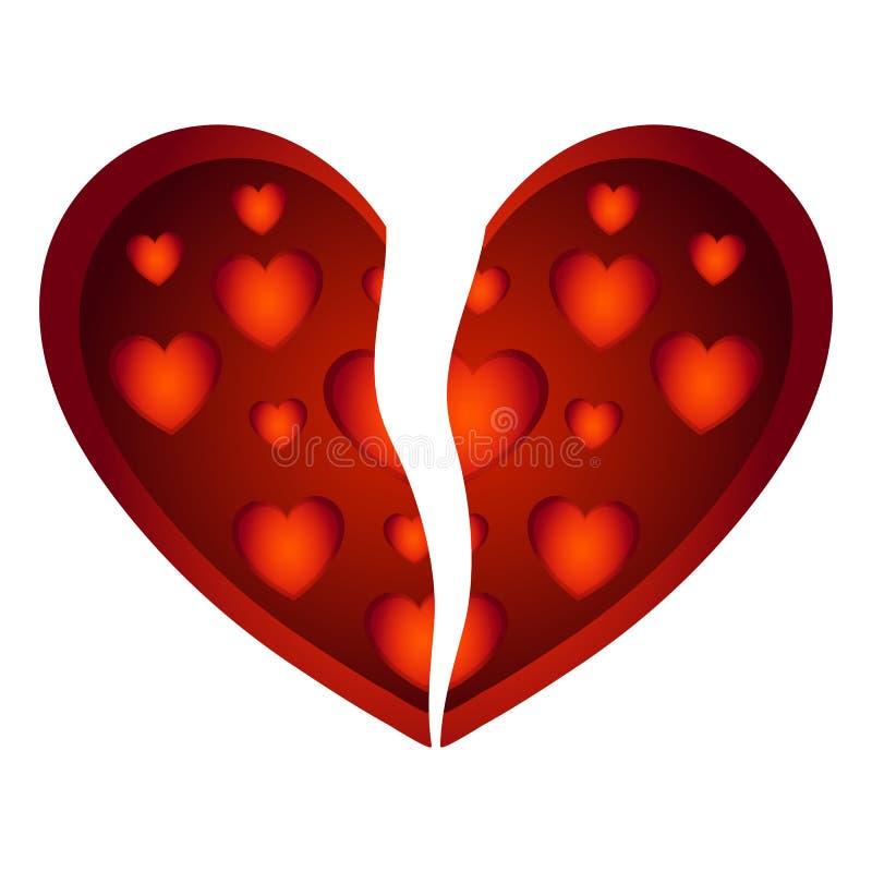 Torn heart of love. Bottom Gradient Big Red Heart Round Valentine`s day Vector. vector illustration