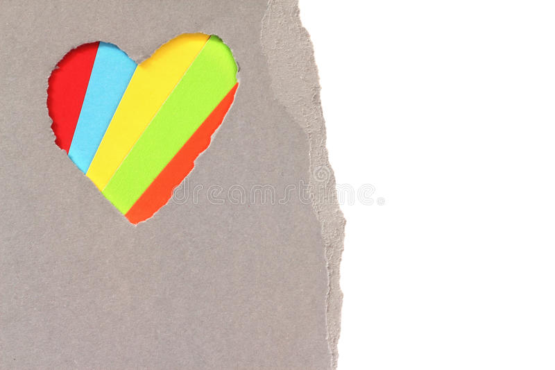 Torn heart in paper. Torn red heart in paper with copy space stock illustration