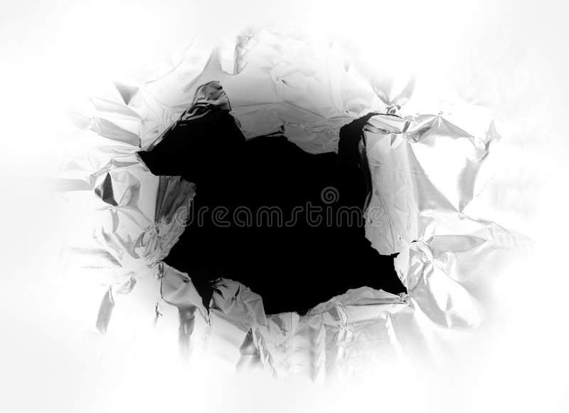 Torn hole stock images