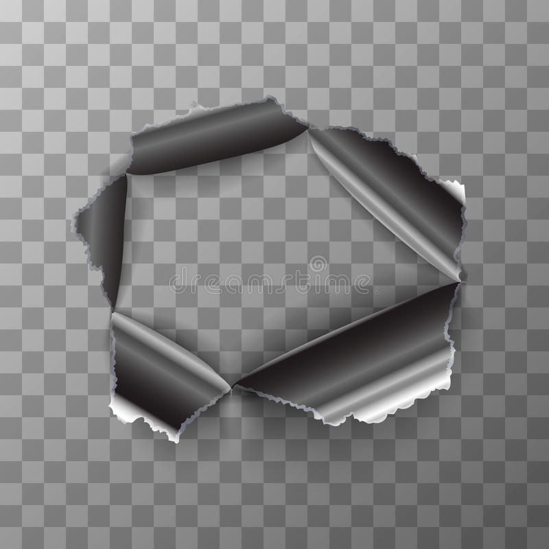 Torn hole in glossy metal plate on transparent background. Torn hole in glossy polished metal plate on transparent background stock illustration