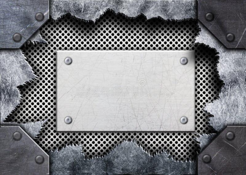 Torn hole in metal, steel mesh plate, 3d, illustration royalty free illustration