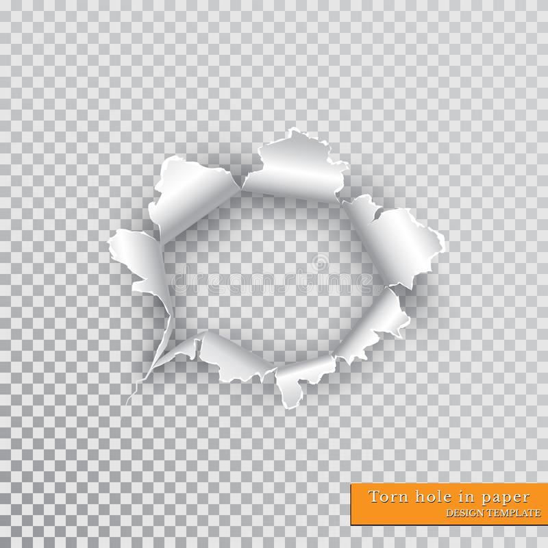 Torn hole in paper with ripped edges with shadow on transparent background. Graphic concept for your design vector illustration