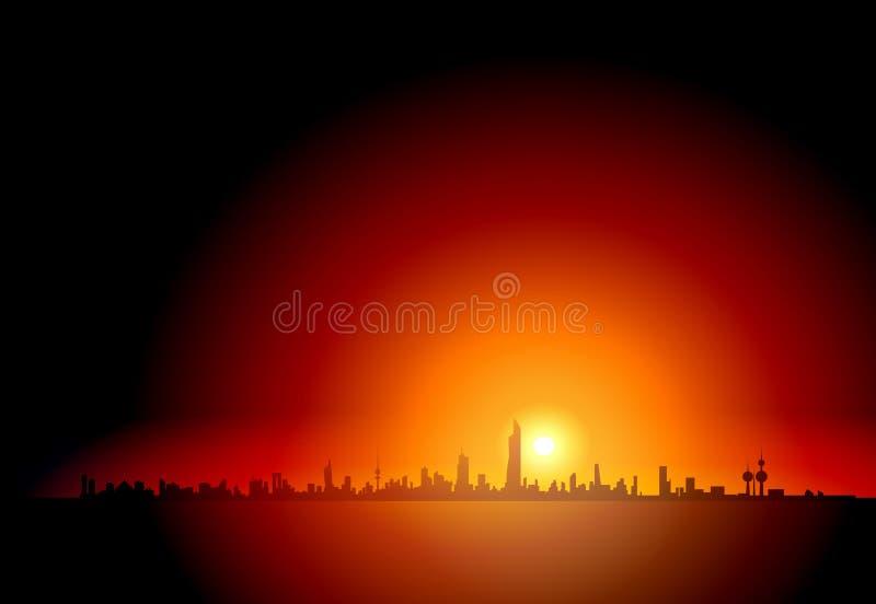 Torn i himlen - Kuwait horisontkonturer på solnedgången royaltyfri illustrationer
