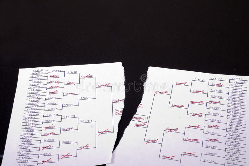 March Madness Torn Bracket. A torn march madness bracket royalty free stock image