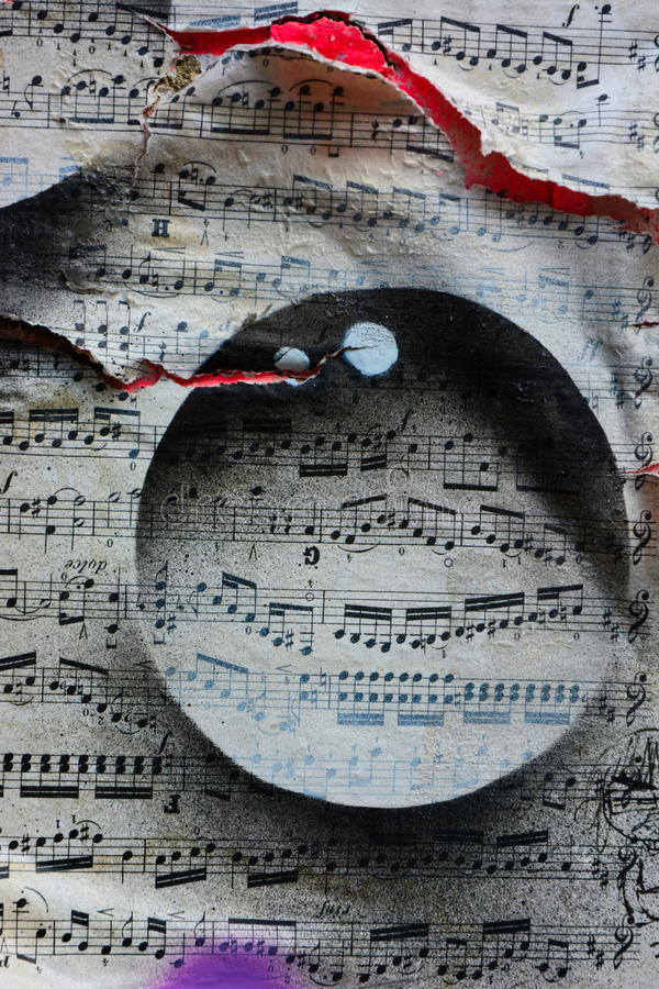 Torn music notes royalty free stock photography