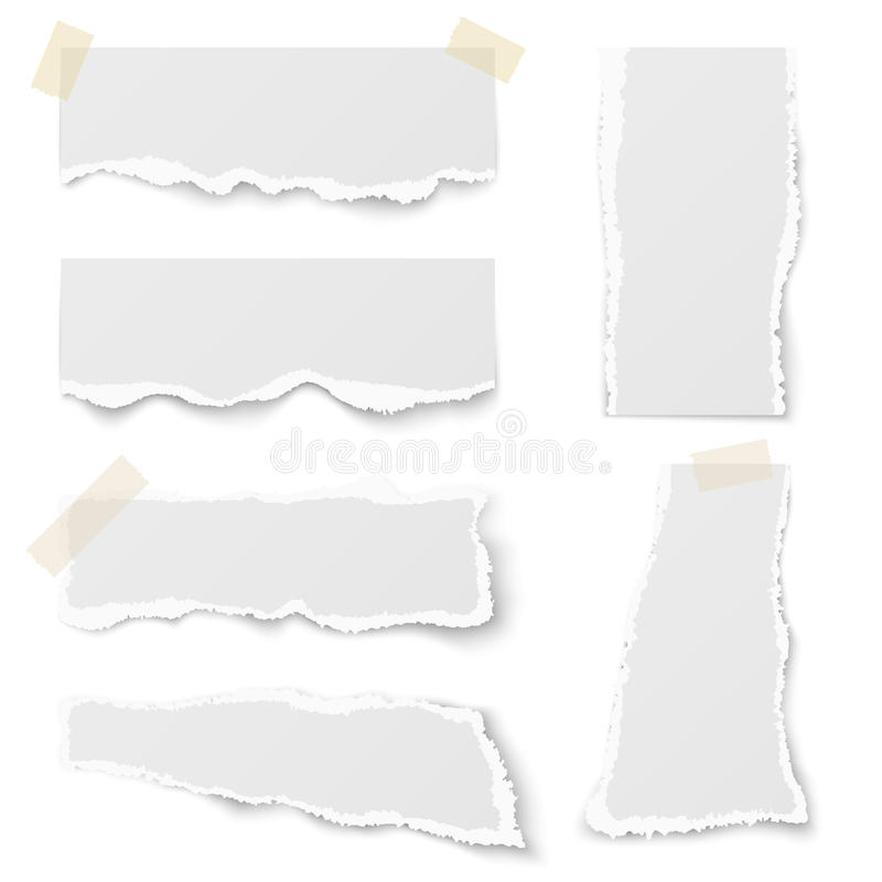 Torn note paper with adhesive tape vector set stock illustration