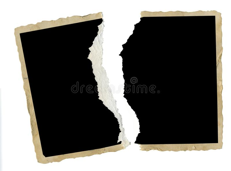 torn old blank photography, photo frame, divorce, contradiction, e.g. concept,isolated stock photography