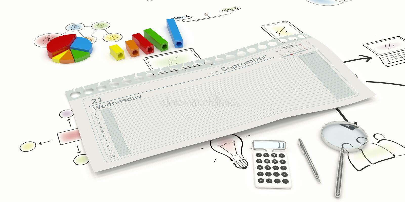 Torn page diary. 3d rendering torn page diary with space for text and graphs magnifier calculator and a pen calculator and a pen royalty free illustration